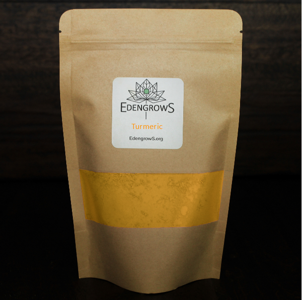 Natural turmeric root powder in a fresh keeping sealed bag for shipping