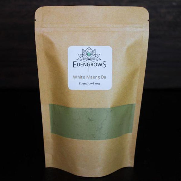 Finely grinded white maeng da leaf powder in a fresh keeping sealed bag for shipping