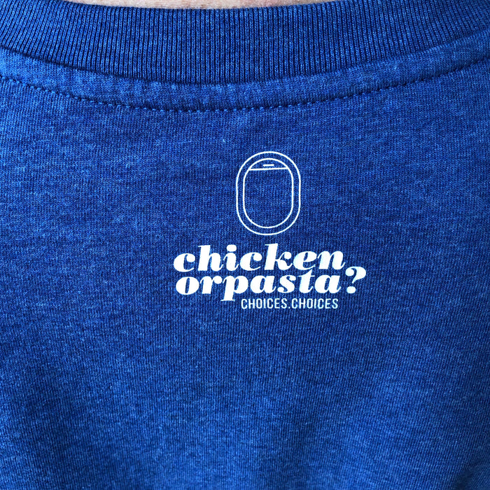 "The NEW COLLECTION. ""Chicken or pasta"". Unisex T-shirt. Crew Neck. Blue."