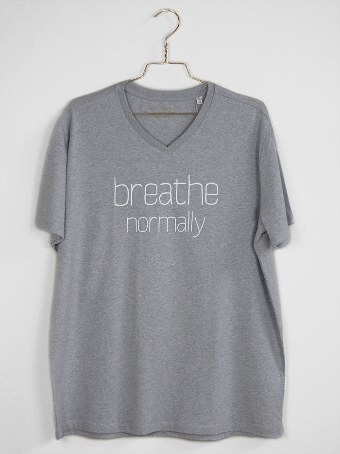 "THE ORIGINAL COLLECTION. ""Breathe Normally"". Unisex T-Shirt, V-Neck, Heather Grey"