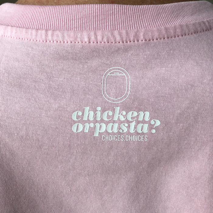 "The NEW COLLECTION. ""Chicken or pasta?"" Unisex T-shirt. Crew neck. Pink."