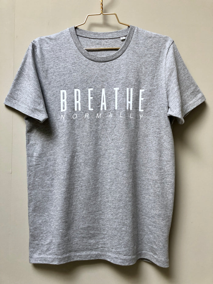 "The NEW COLLECTION. ""Breathe Normally"". Unisex T-shirt. Crew Neck. Heather Grey."