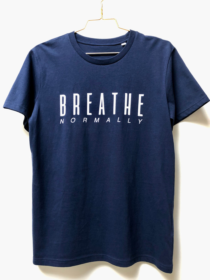 "The NEW COLLECTION. ""Breathe Normally"". Unisex T-shirt. Crew Neck. Navy Blue."
