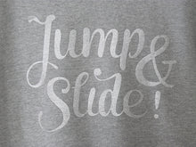 "Load image into Gallery viewer, THE ORIGINAL COLLECTION. ""Jump & Slide!"" Woman's Sweater, Boat Neck, Light Heather Grey"