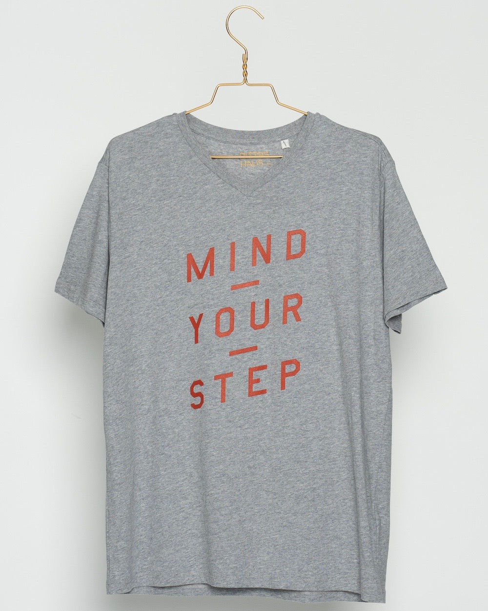 "THE ORIGINAL COLLECTION.  ""Mind Your Step"". Unisex T-Shirt, V-Neck, Heather Grey"