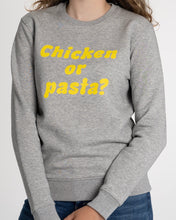 "Load image into Gallery viewer, THE NEW COLLECTION. ""Chicken or pasta?"" Unisex Sweater, Crew Neck, Heather Grey."