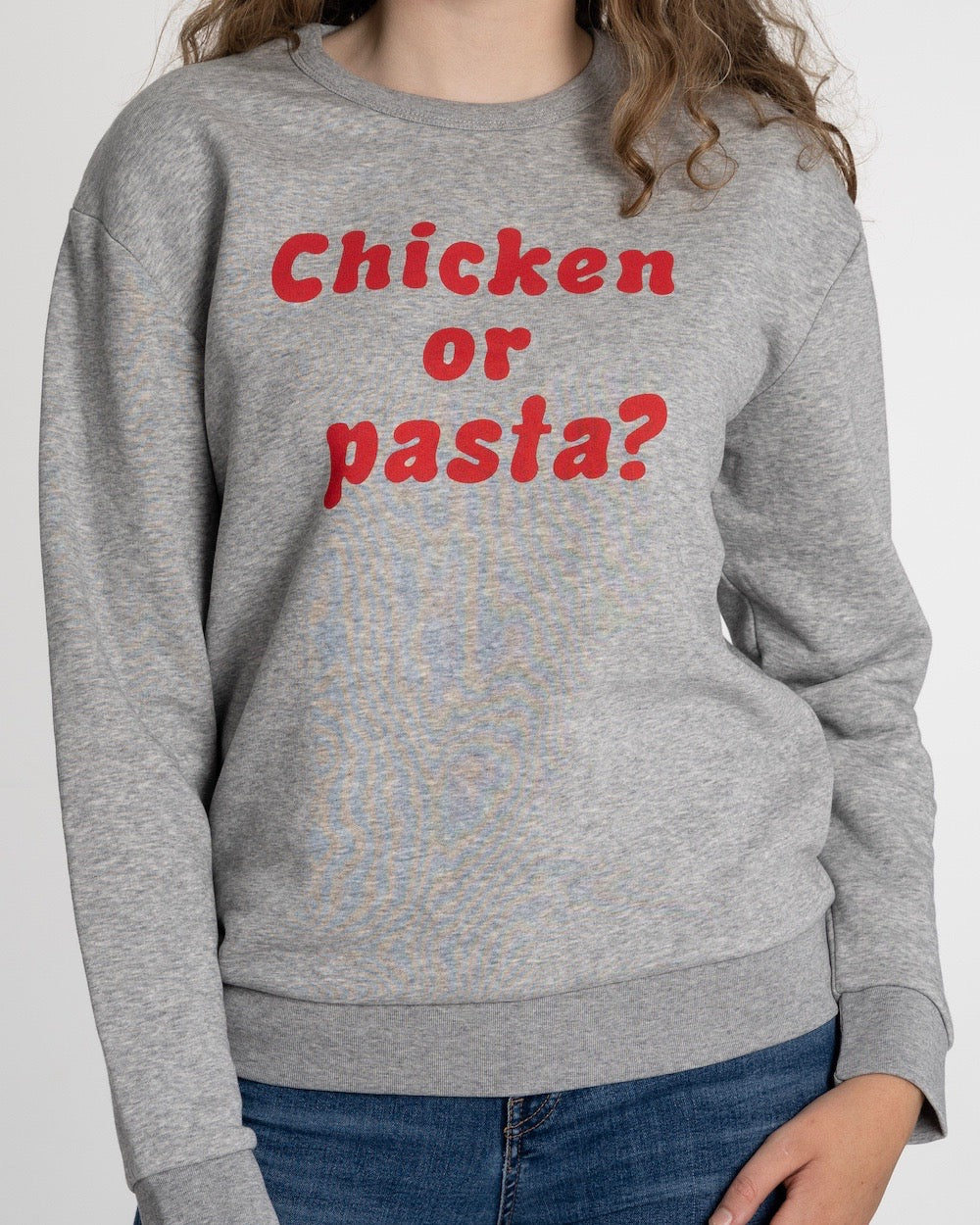 "THE ORIGINAL COLLECTION. ""Chicken or pasta?"" Drop Shoulder. Unisex. Crew Neck. Heather Grey."