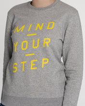 "Load image into Gallery viewer, THE NEW COLLECTION. ""Mind Your Step"". Unisex Sweater. Crew Neck. Heather Grey."