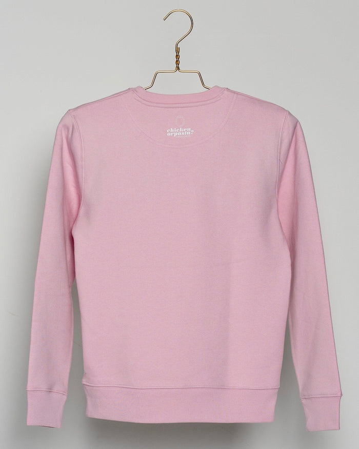 "THE NEW COLLECTION. ""Mind Your Step"". Unisex Sweater. Crew Neck. Cotton Pink."