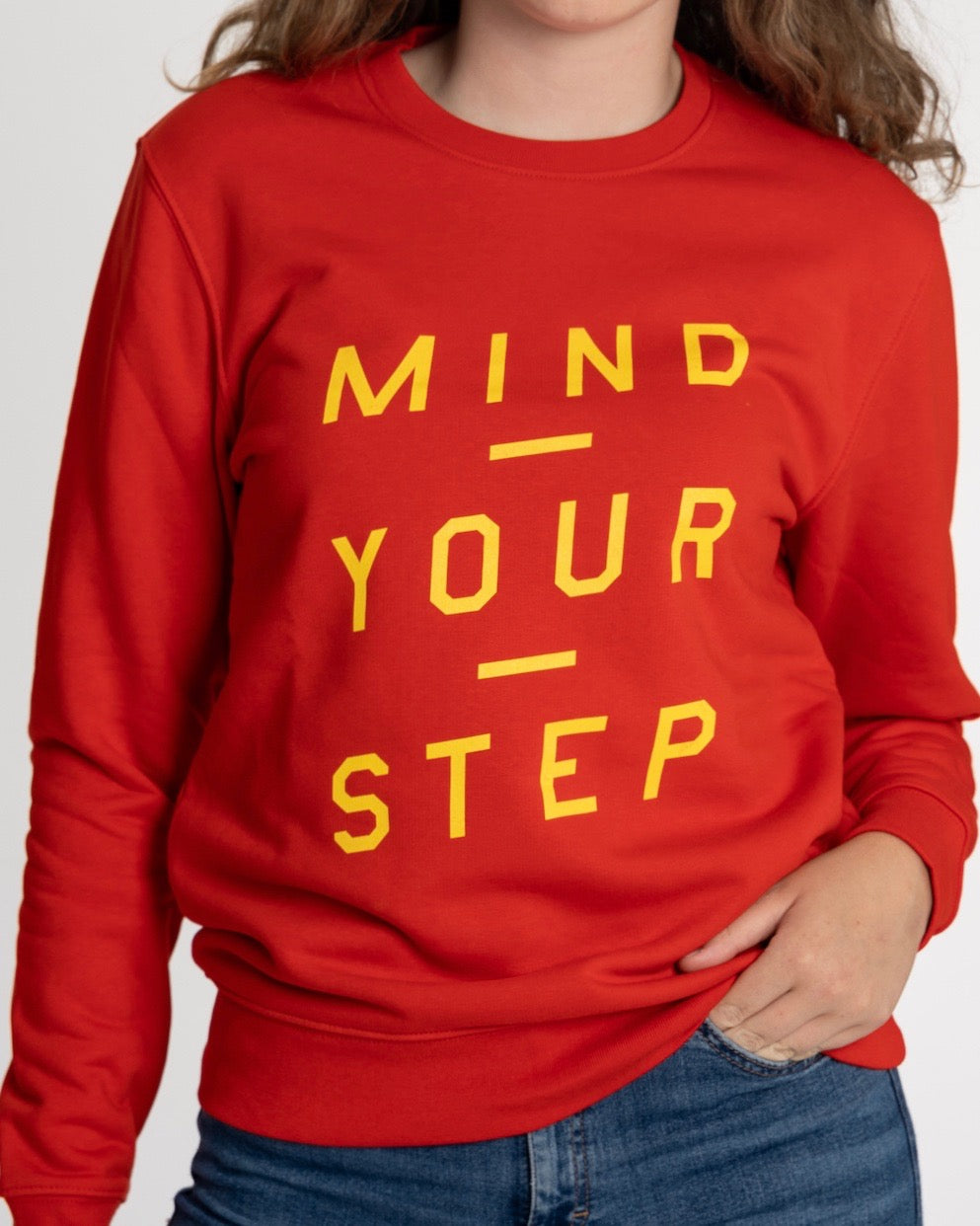 "THE NEW COLLECTION. ""Mind Your Step"". Unisex Sweater, Crew Neck, Bright Red!"