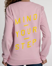 "Load image into Gallery viewer, SPECIAL EDITION! Full colour logo on the front! ""Mind Your Step"" on the back! Unisex Sweater, Crew Neck, Cotton Pink."