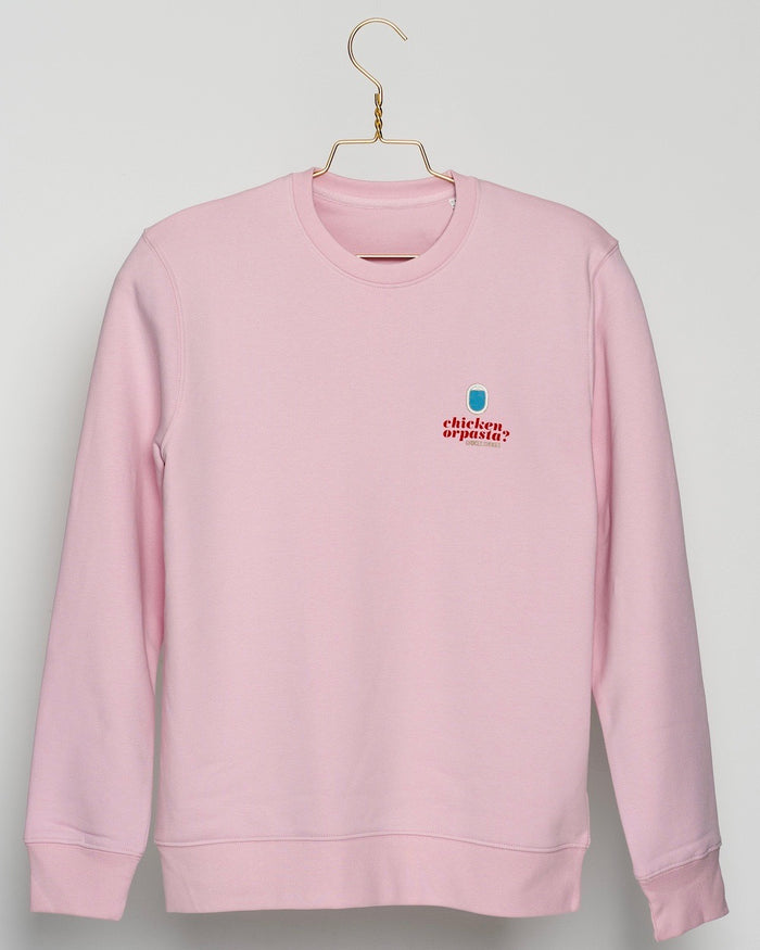 "SPECIAL EDITION! Full colour logo on the front! ""Mind Your Step"" on the back! Unisex Sweater, Crew Neck, Cotton Pink."