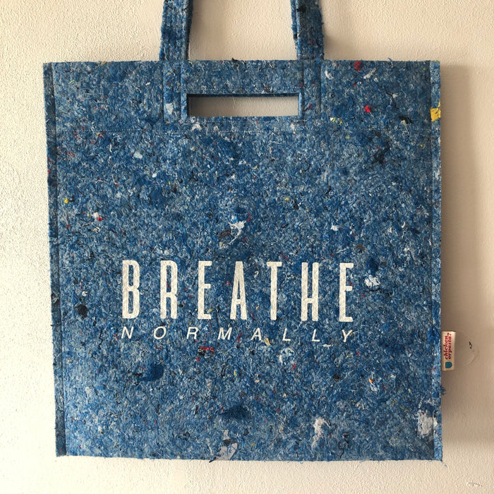 "LAST ONES! ""Breathe Normally"". 100% Recycled Airline Uniforms! Shoulder Bag with Double Shoulder Straps and Hand Hold."