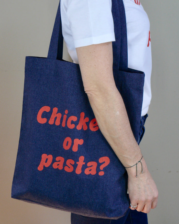 """Chicken or pasta?"" - Tote Bag - IN 3 COLOURS."