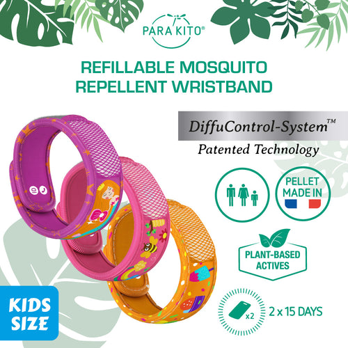 Para'Kito Kids Mosquito Repellent Wristband with 2 Refill Pellets (G) - Justrend.sg