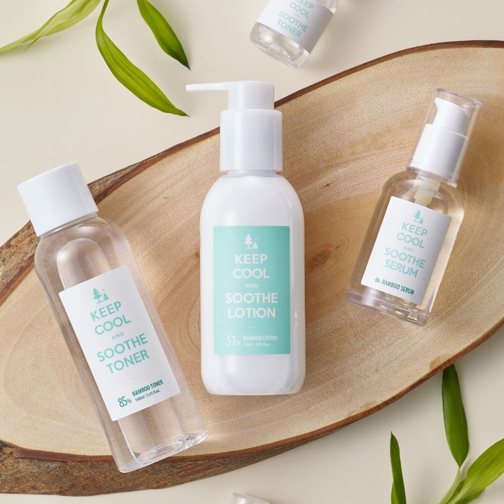 Keep Cool Soothe Bamboo Skin Care Set (Toner+Serum+Lotion) - Justrend.sg