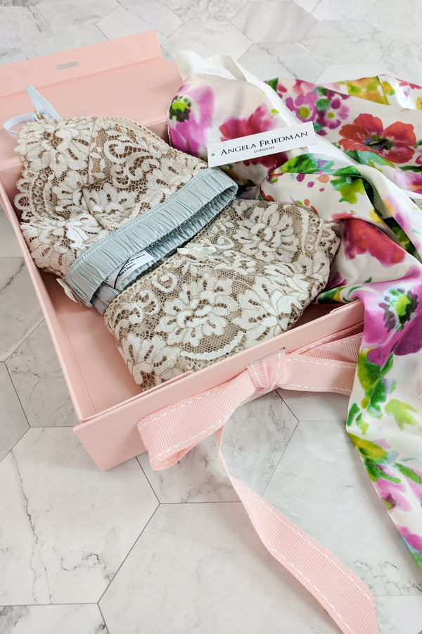 Angela Friedman pink luxury gift boxes, lingerie gifts free with purchase designer underwear and pink ribbon bows
