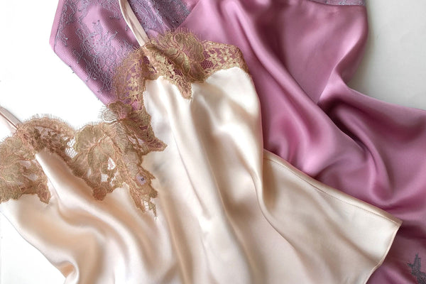 Silk vintage style camisole and pink satin slip with lace trims