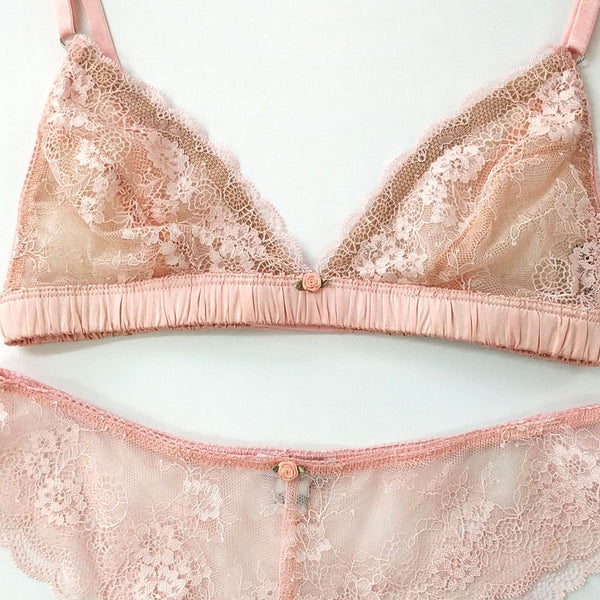 Our luxurious transparent lingerie features intricate hand cut French lace Delicate Handmade Bra with Silk and Lace Esme is a bestseller