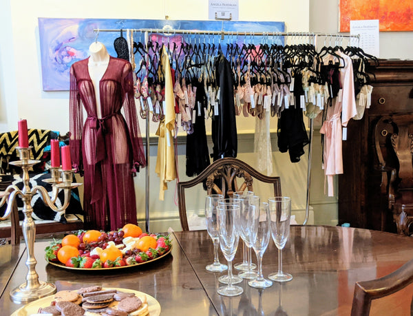 Private trunk show by luxury lingerie designer Angela Friedman in London UK
