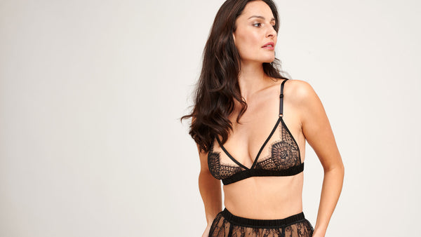 Black lace lingerie sets as seen in CR Fashion Book