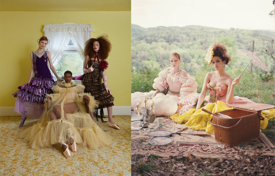 Picnic in ballgowns, corsets and ruffled dresses