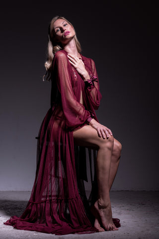 Sheer red tulle robe by luxury sleepwear designer Angela Friedman online