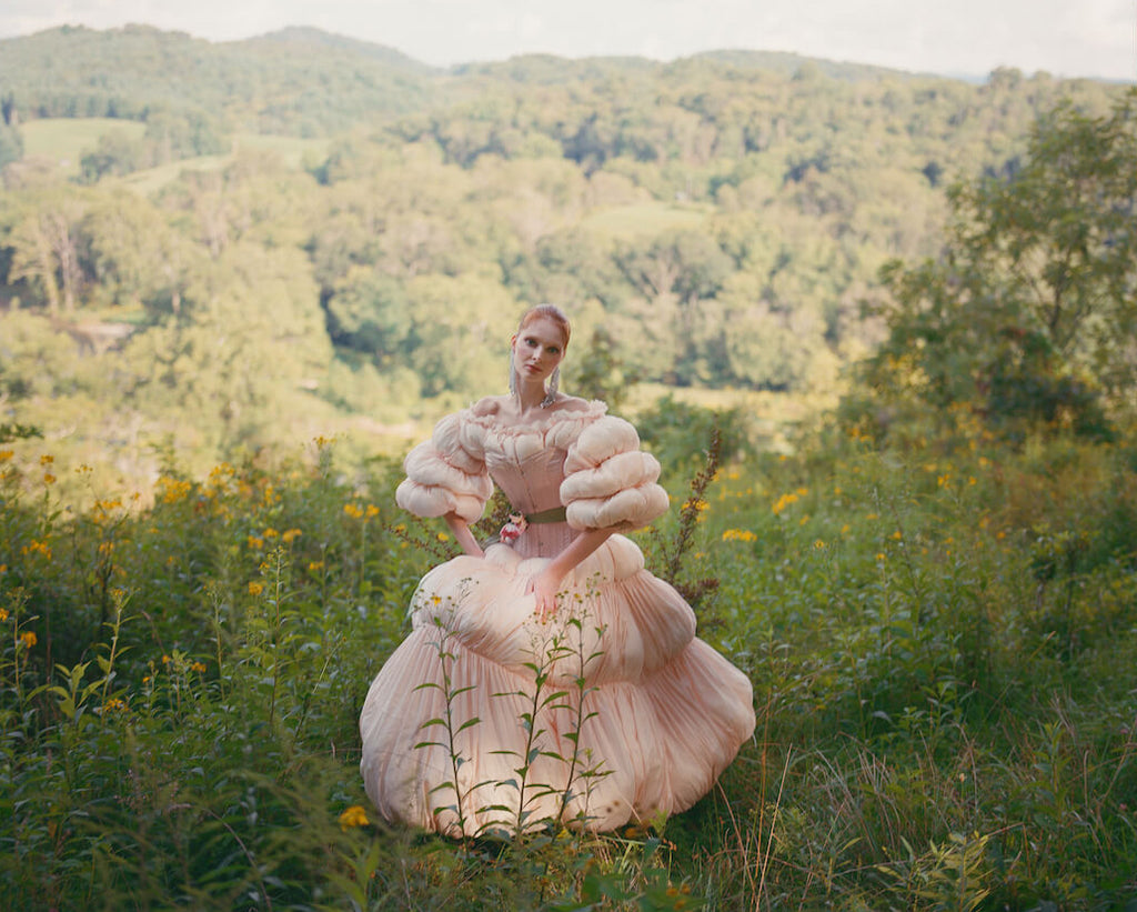 Ruffled pink ballgown with pink silk corset