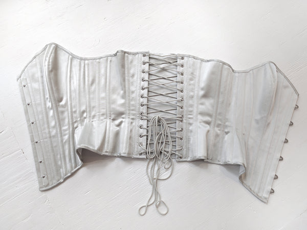 Grey silver satin corset in 100% silk, overbust style by corsetiere Angela Friedman
