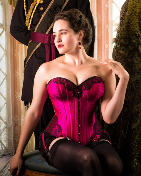 Custom pink Victorian style corset with hourglass sweetheart neckline and steel boning