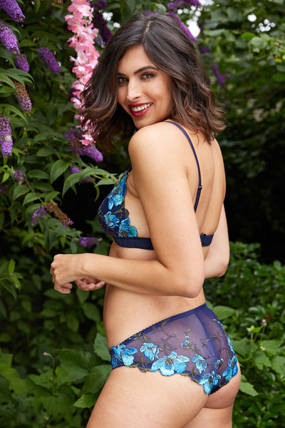 Blue silk bralette and embroideried panties