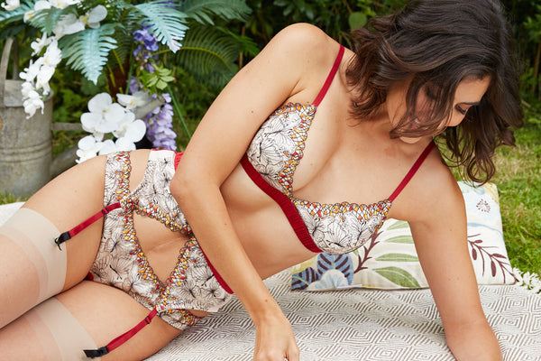 Embroidered butterfly lingerie set