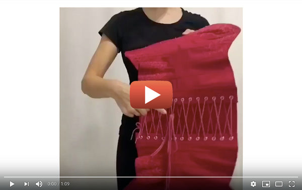 How to lace up your corset videos, how to put on a corset by yourself, corsetry lacing instructions video help
