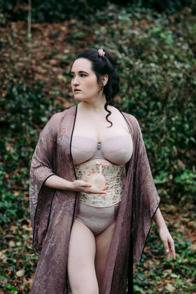 Sweet nothings lingerie blog featuring angela friedman corset and katherine hamilton bra and harlow and fox robe