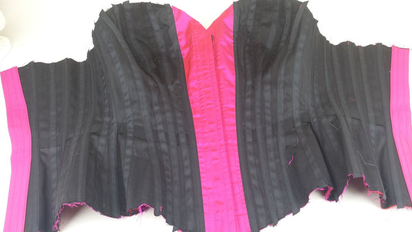 Inside of a black bespoke corset by UK designer Angela Friedman