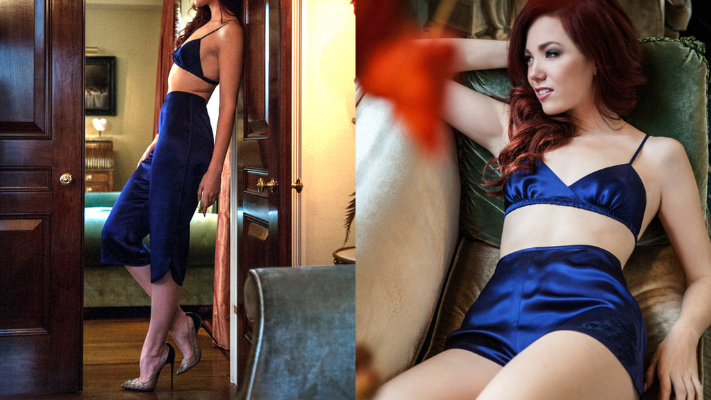 Angela Friedman handmade silk lingerie, designer vintage inspired style lounge wear loungewear New York blue navy