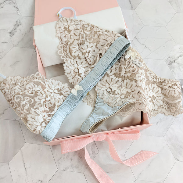 Ivory lace and blue silk wedding lingerie in gift box