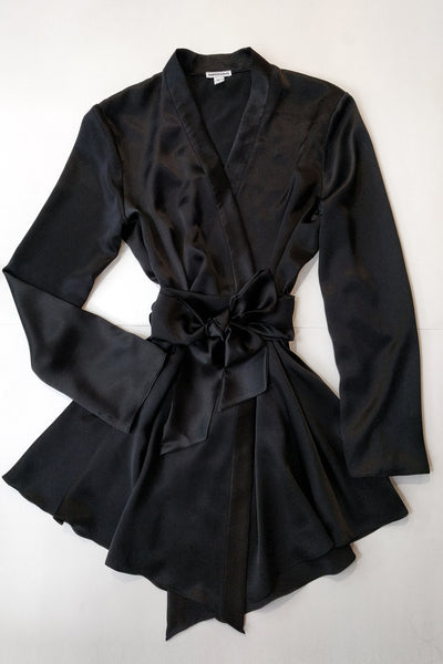 Black silk satin robe, now available in plus sizes up to XL and XXL