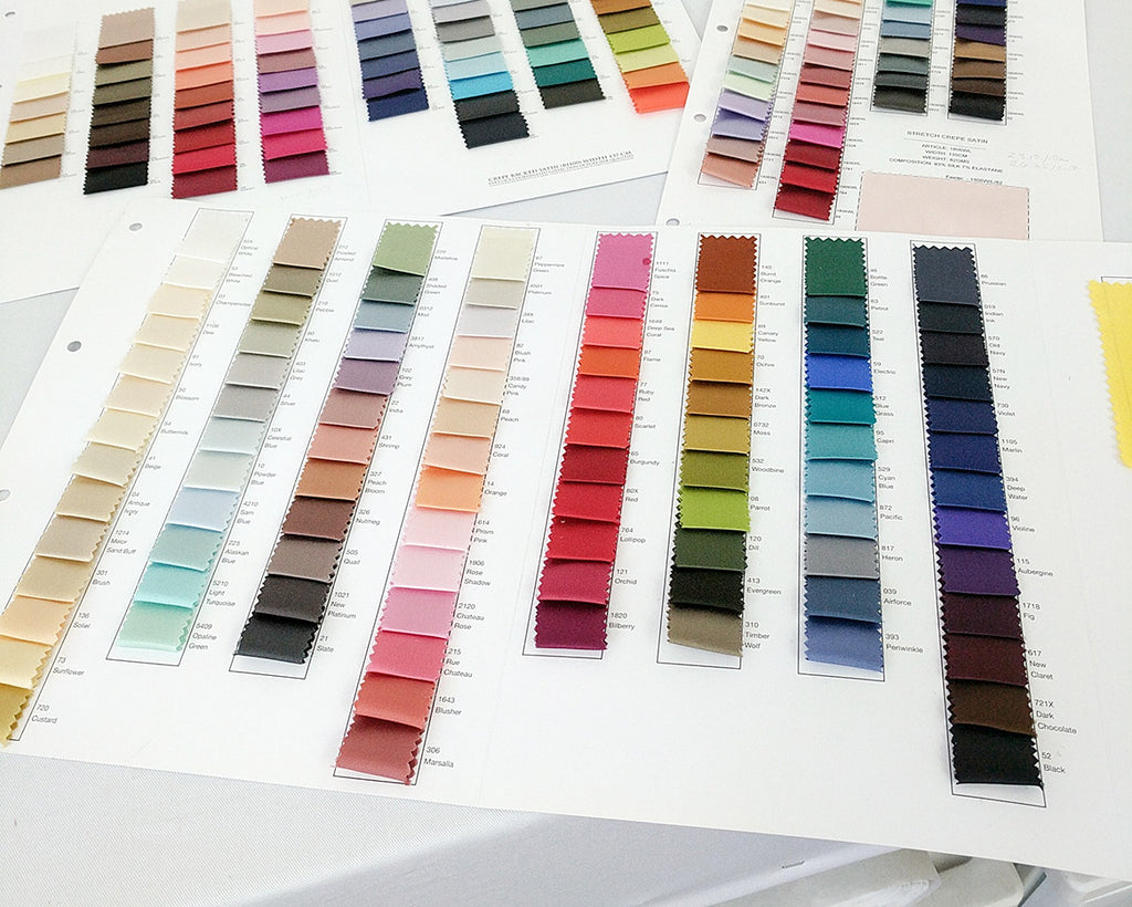 Angela Friedman lingerie designer, color colour swatches silk colors book swatch