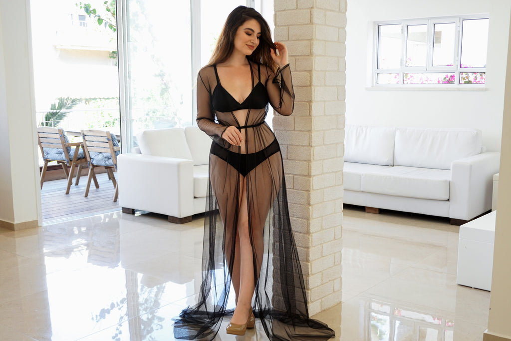 Vintage inspired black tulle robe with silk lingerie set