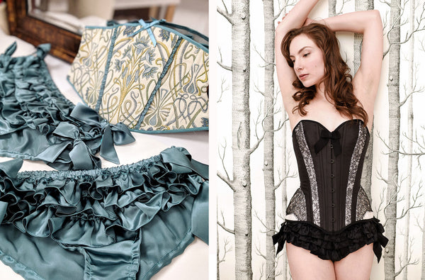 Silk corsets and satin frilly knickers by Angela Friedman