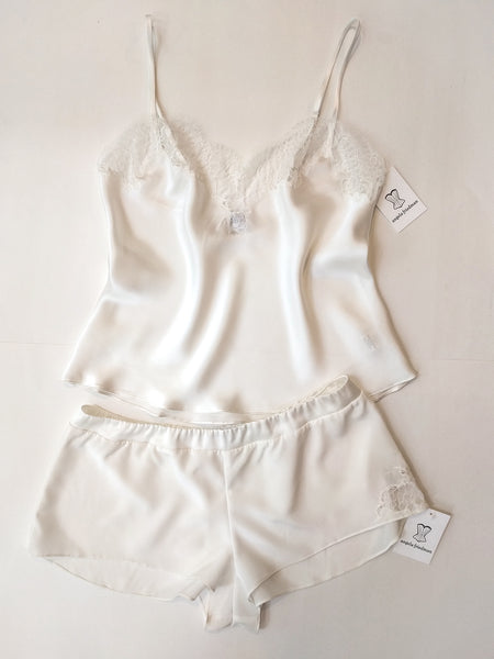 Custom white silk loungewear set for a bride on her wedding day