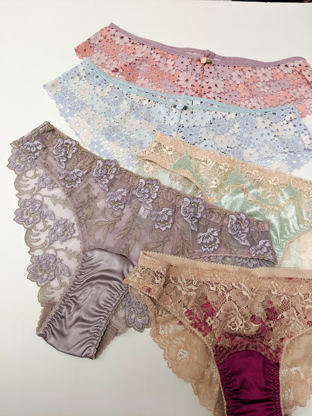 Handmade lace knickers in silk and embroidered pastels