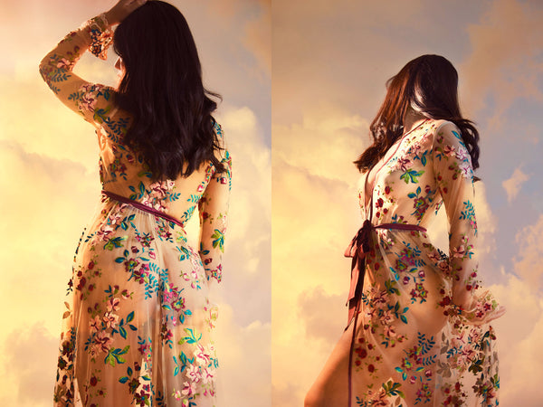 Luxury dressing gown with sheer embroidered flowers and red silk ties