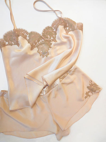 Vintage style camisole and tap pants set in pink silk and gold lace