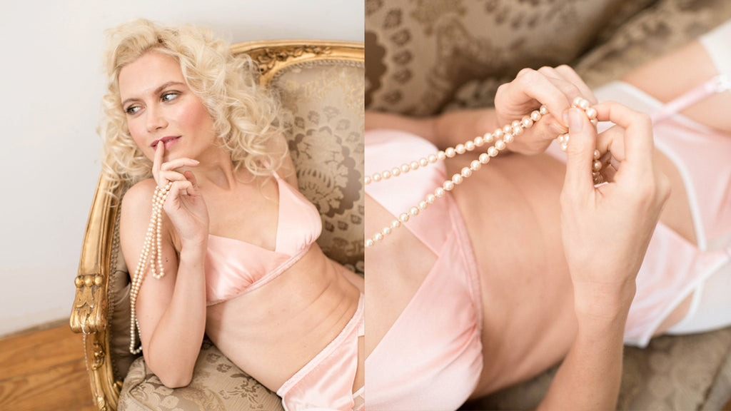 Angela Friedman pink silk lingerie collections lookbook fashion look book, designer intimate apparel photos gallery