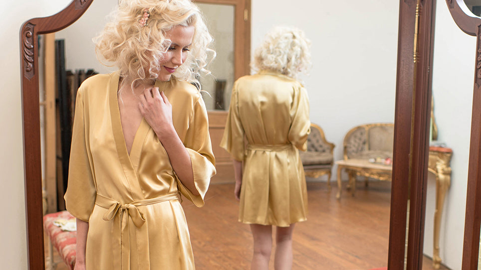 Angela Friedman silk dressing gowns, 100% silk robes, kimono gold retro gowns for wedding trousseau