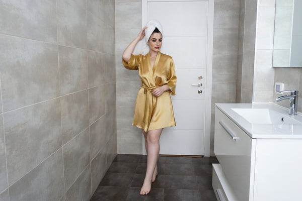 Gold Victoria dressing gowns in 100% pure silk satin