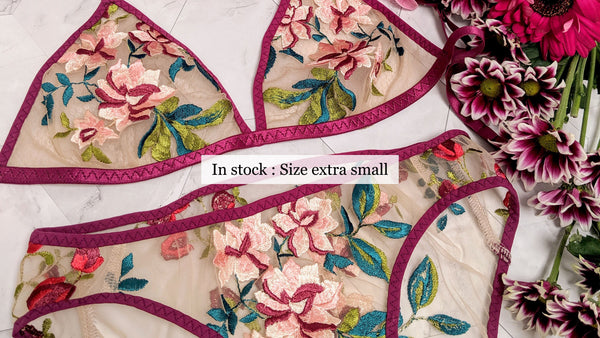 Size XS bra and panty set in luxury floral embroidery