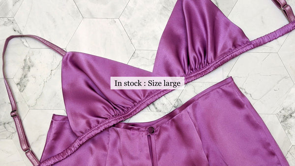 Size large silk bra and purple satin tap pants